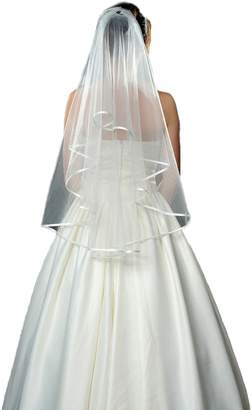 AliceHouse 2T 2 Tier Pencil Edge Bridal Wedding Veil Ivory White MV16