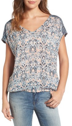 Women's Lucky Brand Mixed Print V-Neck Top $89.50 thestylecure.com