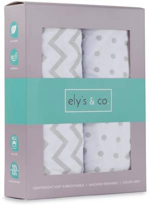 Co Sheet Set 2 Pack 100% Jersey Cotton for Baby Girl and Boy Chevron and Polka Dot by Ely's &