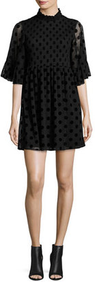 McQ Alexander McQueen Short-Sleeve Smocked Polka-Dot Mini Dress, Black $630 thestylecure.com