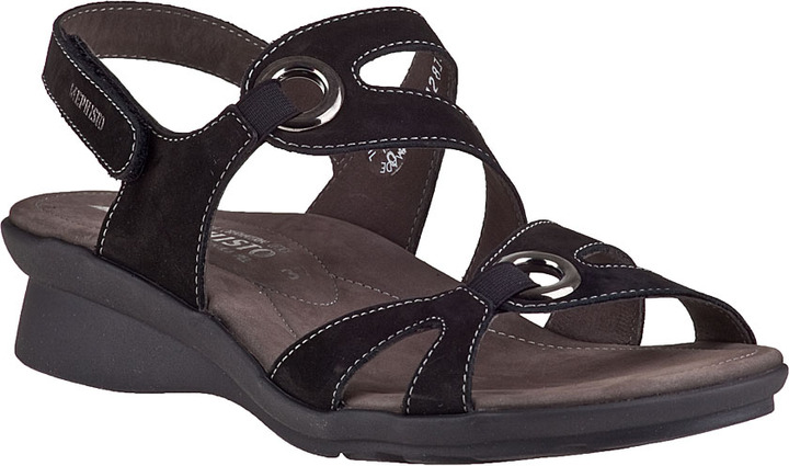 Mephisto Parfolia Wedge Sandal Black Leather