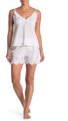 Tahari Embroidered Eyelet Camisole & Shorts 2-Piece Set