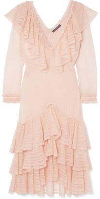 Alexander McQueen Ruffled Knitted Silk Mini Dress