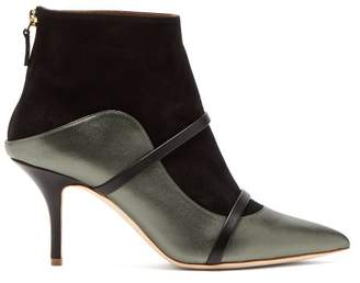 Malone Souliers Madison Leather And Suede Ankle Boots - Womens - Black Silver
