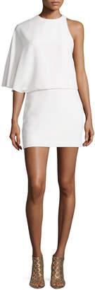 Halston Asymmetric Draped Cocktail Dress, Chalk