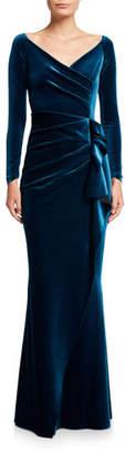 Chiara Boni V-Neck Long-Sleeve Side Drape Velvet Wrap Gown