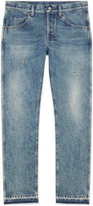 Bleached washed denim tapered pant $750 thestylecure.com