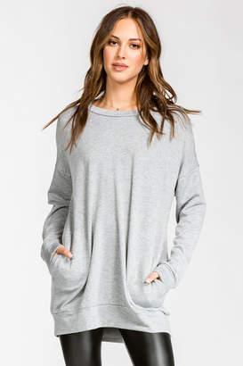 Cherish Heather Gray Sweatshirt Tunic with Pockets