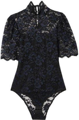 Ganni Floral-lace Bodysuit - Black