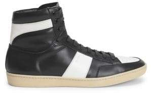 Saint Laurent Leather Color-Block High Top Sneakers