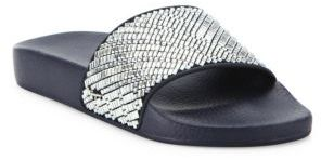 Salvatore Ferragamo Groove Crystal-Embellished Rubber Slides $475 thestylecure.com