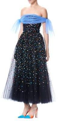 Off-The-Shoulder Embellished Tulle Dress