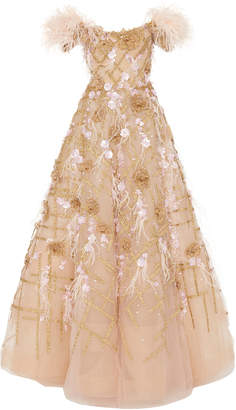 Marchesa Off Shoulder Ostrich Feather Embroidered Ball Gown