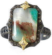 Armenta Old World AquapraseTM Emerald-Shaped Cabochon Ring with Diamonds, Size 6.5