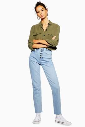 Topshop Womens Bleached Button Fly Straight Jeans - Bleach Denim