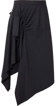 3.1 Phillip Lim Asymmetric Pinstriped Wool-blend Skirt - Navy