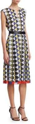 Akris Diamond-Stripe Belted Dress