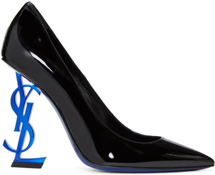 Saint Laurent Black and Blue Patent Opyum Pumps
