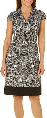 London Times Women's Ponte Scroll Lace Sheath