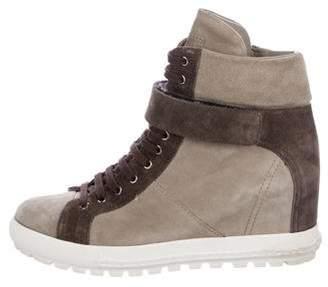 Miu Miu Suede Wedge Sneakers
