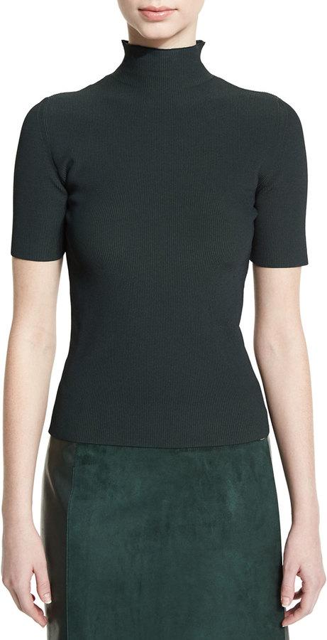 Calvin KleinCalvin Klein Ribbed Half-Sleeve Turtleneck Sweater, Forest Green