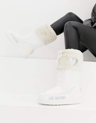 Love Moschino Faux Fur Sequin Snow Boots