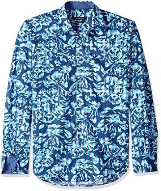 Bugatchi Men's Patterned Slim Fit Cotton Point Collar Button Down Shirt