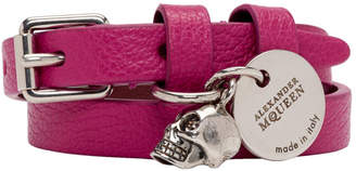 Alexander McQueen Pink and Silver Double Wrap Bracelet