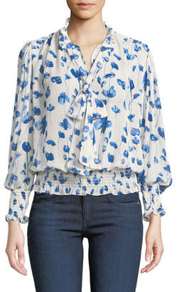MISA Los Angeles Vyvienne Floral Tie-Neck Blouson Top