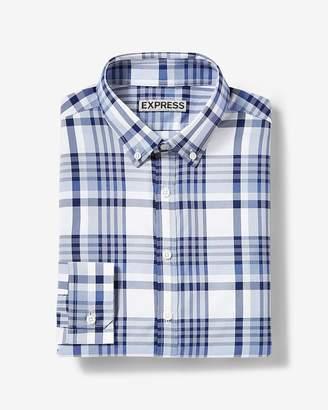 Express Classic Plaid Button-Collar Dress Shirt