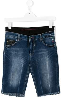 Philipp Plein Junior frayed edges denim shorts