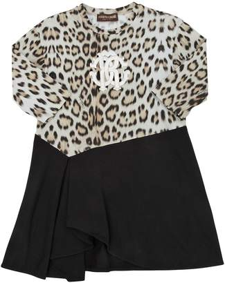 Roberto Cavalli Logo Leopard Cotton Jersey Dress