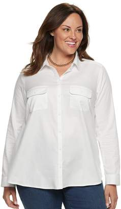 Croft & Barrow Plus Size Classic Soft Button-Down Shirt