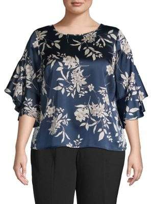 bf5f3d91c35 at The Bay · Vince Camuto Plus Bell Sleeve Floral Satin Blouse