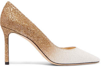 Jimmy Choo Romy 85 Dégradé Glittered Leather Pumps - Gold