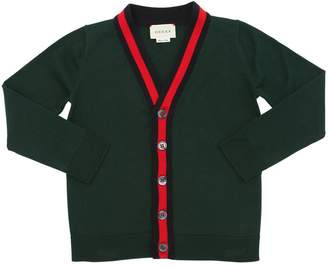 Gucci Web Trim Cotton Knit Cardigan