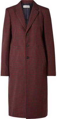 Balenciaga Checked Wool Coat - Claret