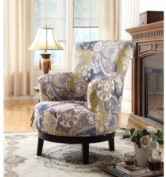 Zoey Leonel Signature Nathaniel Home Swivel Accent Chair, Flower Pattern
