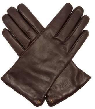 Gucci Bee Embellished Leather Gloves - Mens - Brown