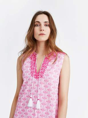 Joules Orianne Sleeveless Embroidered Tunic Dress - Pink