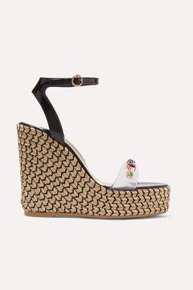 Sophia Webster Dina Embellished Vinyl And Patent-leather Espadrille Wedge Sandals - Black