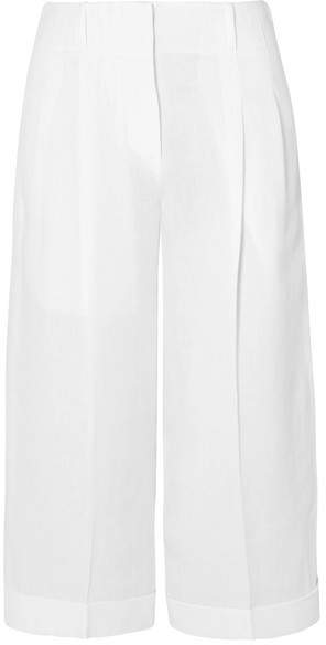 Michael Kors Collection - Cropped Linen Wide-leg Pants - White