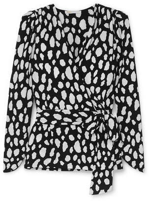 Maje Printed Crepe Wrap Top - Black