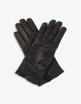 Gucci Palm-embossed leather gloves