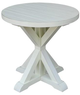 INC International Concepts Aspen Plank Round End Table - Seashell