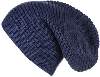Black Midnight Navy Blue Rib Knit Cashmere Slouch Beanie