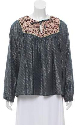 Maison Scotch Metallic Accented Long Sleeve Top w/ Tags