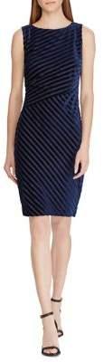 Lauren Ralph Lauren Shadow Stripe Velvet Sheath Dress