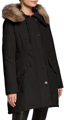 Moncler Monticole Long Parka Coat w/ Fur Trim at Hood