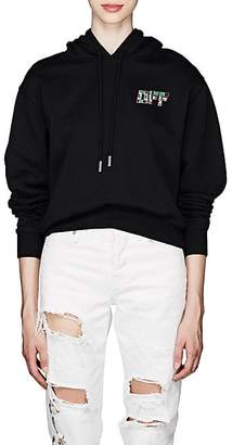 Off-White Women's Peace-Sign & Logo Cotton Terry Hoodie - Black